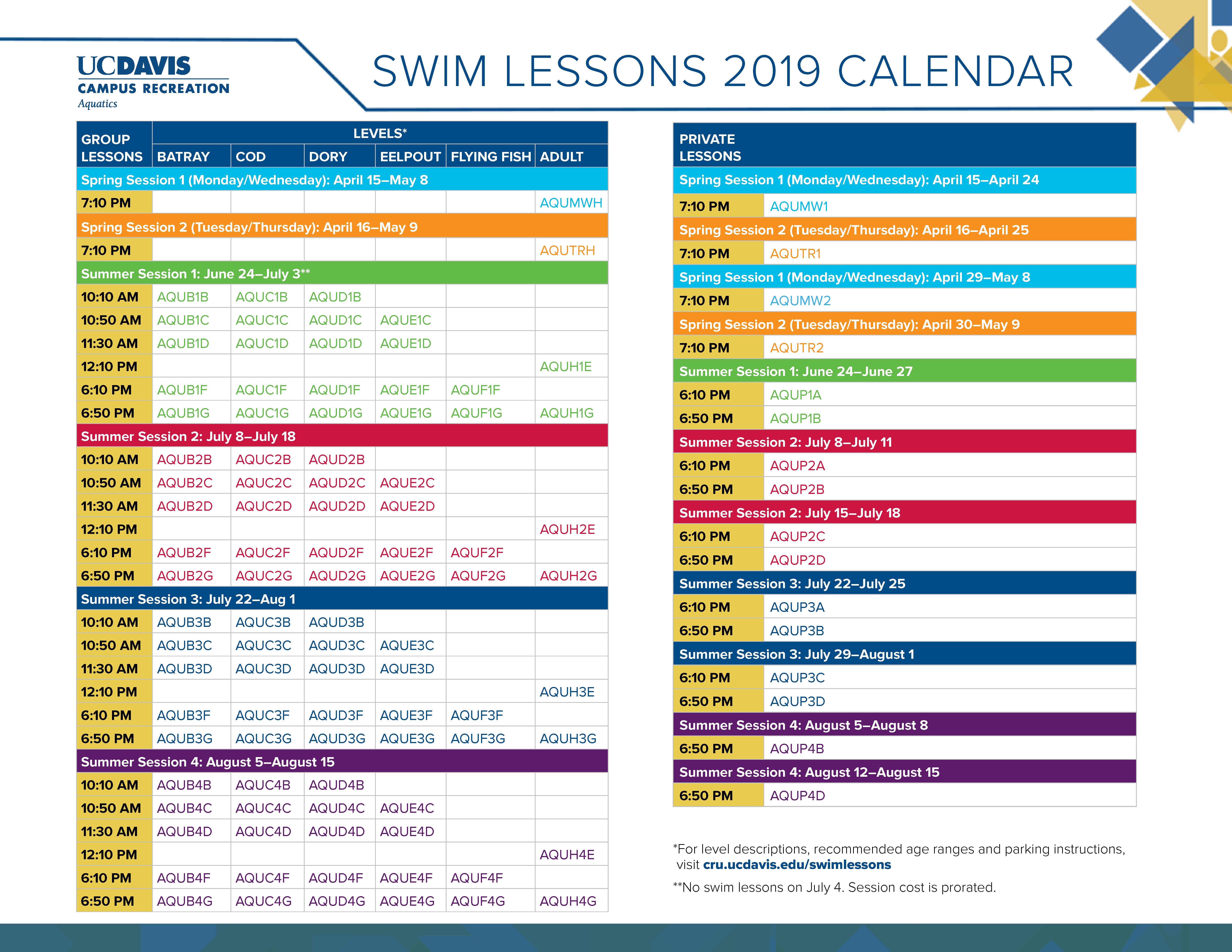Uc Davis Calendar 2019 Swim Lessons | Campus Recreation