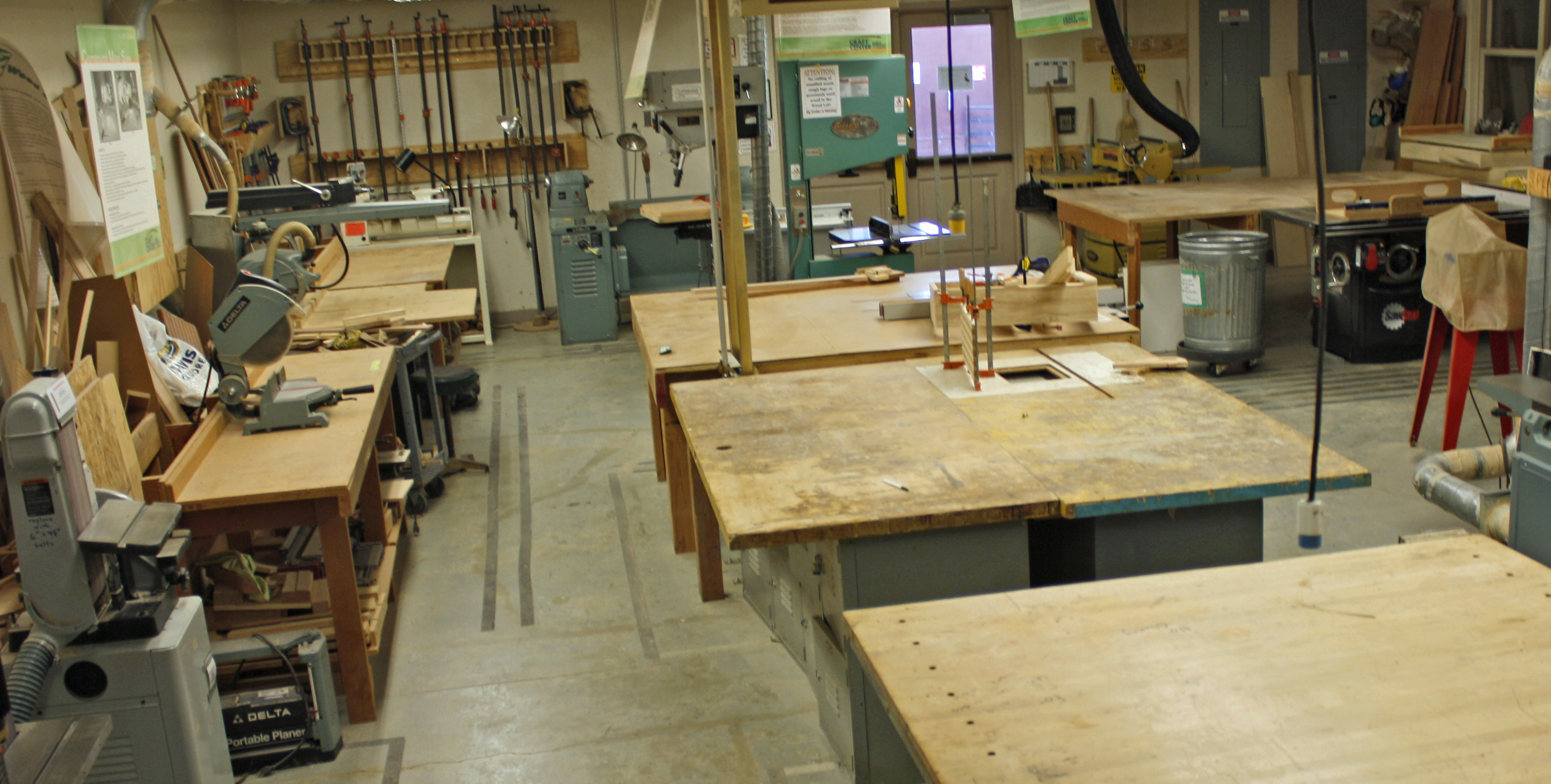 wood studio countertops and machinery in the craft center