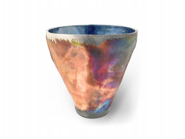 Image of ceramic pot with multicolored finish