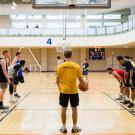 Players lined up to shoot a free throw in Basketball