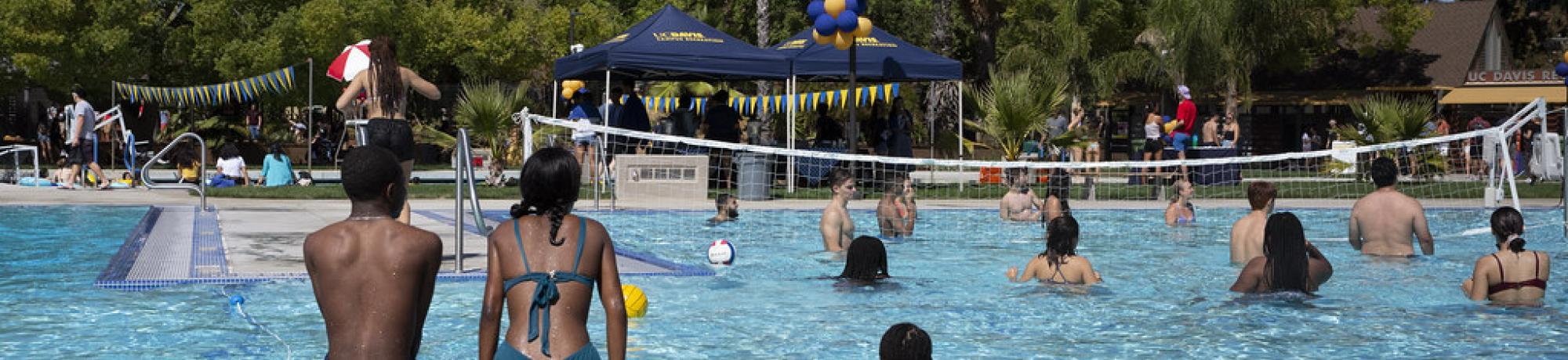 Students play Water VolleyBall