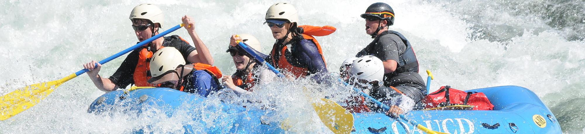 Group whitewater rafting on the American river